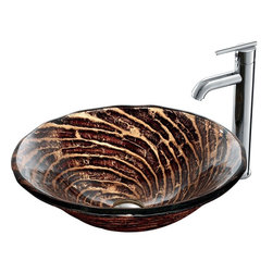 "Vigo - Caramel Vessel Sink in Chocolate Swirl with Chrome Faucet - The VIGO Caramel Above The Counter Round Tempered Glass Vessel Sink in Chocolate Swirl creates a rich feel. Coupled with a chrome faucet, this sink brings a distinguished elegance into your bathroom.; Handmade with possible unique and slight color variations, so no two sinks are identical.; Solid tempered glass construction; Scratch-resistant glass; Non-porous surface prevents discoloration and fading; Stain-resistant, easy-to-clean surface; Polished glass interior with textured exterior; Above-counter installation; Diameter: 18 1/8""; Height: 6""; Glass thickness: 3/4""; 1 3/4"" standard drain opening; Quality is key with this drip-free VIGO vessel faucet.; Faucet's solid brass construction and chrome finish ensure durability and longer life; High-quality ceramic disc cartridge ensures maintenance-free use; Mineral-resistant nozzle is easy-to-clean; VIGO finishes resist corrosion and tarnishing, exceeding industry durability standards; Easy single-hole installation; Modern single lever for water and temperature control; All mounting hardware and hot/cold waterlines included; Water pressure tested for industry standard; Standard US plumbing 3/8"" connections; Standard 1 3/8"" diameter opening is required for this faucet; Includes solid brass pop-up drain and solid brass mounting ring, both in matching finish.; Overall Height: 13""; 2.2 GPM flow rate; This VIGO glass vessel bowl is cUPC certified, ANSI certified and ADA compliant; This VIGO vessel faucet is cUPC certified.; Limited Lifetime Warranty; Dimensions: 24""H x 24""W x 16""D"