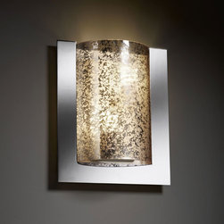 Justice Design Group - Fusion Framed Rectangle Three-SidedTwo-Light Fluorescent Polished Chrome ADA Wal - - Framed Rectangle 3-Sided Wall Sconce (ADA). Material Used: Glass and Metal. (2) 13W lamps included  - Shade Detail - Mercury  - Shade Material - Artisan Glass Justice Design Group - FSN5562MRORCROM