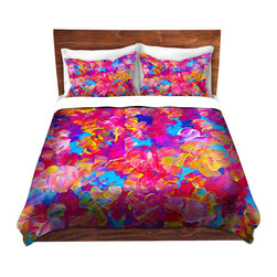 DiaNoche Designs - Duvet Cover Microfiber by Julia Di Sano - Fantasy Floral - Super lightweight and extremely soft Premium Microfiber Duvet Cover in sizes Twin, Queen, King.  This duvet is designed to wash upon arrival for maximum softness.   Each duvet starts by looming the fabric and cutting to the size ordered.  The Image is printed and your Duvet Cover is meticulously sewn together with ties in each corner and a hidden zip closure.  All in the USA!!  Poly top with a Cotton Poly underside.  Dye Sublimation printing permanently adheres the ink to the material for long life and durability. Printed top, cream colored bottom, Machine Washable, Product may vary slightly from image.