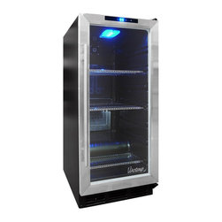 Vinotemp - Butler Beverage Cooler w Stainless Door Trim - Freestanding cabinet. Black color. Fits 56 cans. Includes interior light. 15 in. W x 21.75 in. D x 34.5 in. H (74 lbs.). Butler collection. Lead time: 3 to 5 days. Front-vented unit for built-in or freestanding application. Double-paned glass door. External digital control panel. Metal shelves. Temperature range: 40�-65�F. Warranty. Owners manualThe same size as a kitchen trash compactor, the sleek VT-32BCSB10 Beverage Cooler makes a great addition to any home.