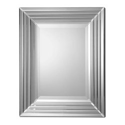 """Uttermost - Ikona Stair Stepped Beveled Rectangular Mirrors - Center mirror features a generous 1 1/4"""" beveled mirror with stair stepped beveled mirrors creating the frame. Matching consle table is #24182."""