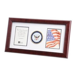 Flags Connections - U.S. Navy Medallion Double Picture Frame - U.S. Navy Medallion Double Picture Frame is designed to hold 2 pictures. These 4-Inch by 6-Inch pictures are set into a double layer of Navy White matting with Gold trim. The frame is made from Mahogany colored wood, and the outside dimensions measure 10-Inches by 18-Inches. The U.S. Navy Medallion 4-Inch by 6-Inch Double Picture Frame is perfect for proudly displaying the pictures of an individual who is serving, or has served in the U.S. Navy.