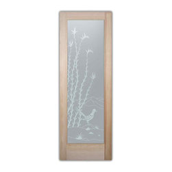 """Bathroom Doors - pd priv Interior Glass Doors Frosted Ocotillo Roadrunner - CUSTOMIZE YOUR INTERIOR GLASS DOOR!  Interior glass doors or glass door inserts.  .Block the view, but brighten the look with a beautiful interior glass door featuring a custom frosted privacy glass design by Sans Soucie! Suitable for bathroom or bedroom doors, there are no clear areas on this glass.  All surface areas are etched/frosted to be 100% opaque.  Note that anything pressed up against the glass is visible, and shapes and shadows can be seen within approx. 5-12"""" of the glass.  Anything 5-12"""" from the glass surface will become obscured.  Beyond that distance, only lights and shadows will be discernible. Doors ship for just $99 to most states, $159 to some East coast regions, custom packed and fully insured with a 1-4 day transit time.  Available any size, as interior door glass insert only or pre-installed in an interior door frame, with 8 wood types available.  ETA will vary 3-8 weeks depending on glass & door type........  Select from dozens of sandblast etched obscure glass designs!  Sans Soucie creates their interior glass door designs thru sandblasting the glass in different ways which create not only different levels of privacy, but different levels in price.  Bathroom doors, laundry room doors and glass pantry doors with frosted glass designs by Sans Soucie become the conversation piece of any room.   Choose from the highest quality and largest selection of frosted decorative glass interior doors available anywhere!   The """"same design, done different"""" - with no limit to design, there's something for every decor, regardless of style.  Inside our fun, easy to use online Glass and Door Designer at sanssoucie.com, you'll get instant pricing on everything as YOU customize your door and the glass, just the way YOU want it, to compliment and coordinate with your decor.   When you're all finished designing, you can place your order right there online!  Glass and doors ship worldwide, """