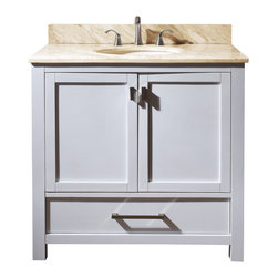Avanity - Modero 36 Vanity Combo White, Gala Beige Marble Top - The Modero 36 in. vanity has a simple clean design with a rich expresso finish and brushed nickle hardware. It is constructed of solid poplar wood and veneer with soft-close doors and drawers that showcase its quality. The vanity combo includes a black granite counter top and undermount sink. Add the coordinating mirror, mirrored storage cabinet or linen tower to complete the look of your bathroom.
