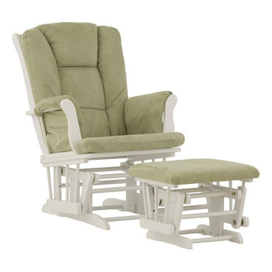 Storkcraft - Tuscany - Glider and Ottoman in White Finish with Sage Cushions - The Tuscany Glider and Ottoman set offers gentle motion while feeding your baby in those early morning hours.  Featuring a solid construction with a magical sleigh design, this is a royal centerpiece for your nursery. The enclosed metal ball-bearings allow for an incredibly smooth motion to glide your baby back to sleep. Micro fiber spot-cleanable cushions ease the worry about spills, while the construction offers an exquisite finish you'll appreciate far beyond the baby years. The Tuscany Glider comes with a matching soft, plush lumbar support pillow for supporting your baby during feeding times.