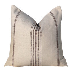 PillowFever - Cotton Pillow inNatural Color with Brown Primitive stripes. - Pillow insert is not included!