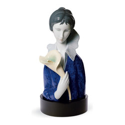 "Lladro Porcelain - Lladro A Woman With Blue Eyes And Calla Lilly Figurine - Plus One Year Accidenta - "" A new style of porcelain, shiny and with strong colours. Remarkable is to capture the unmistakable style of Modigliani in porcelain, by means of large volumes, new shapes, flat colours, almond eyes with no pupil, and elongated traits even in hands and the face oval. Inspired by some famous oil canvases by Amedeo Modigliani, this collection is an artistical interpretation from Lladros point of view.  Hand Made In Valencia Spain - Sculpted By: Marco Antonio Nogueron - Limited To: 2500 Pieces Worldwide - Included with this sculpture is replacement insurance against accidental breakage. The replacement insurance is valid for one year from the date of purchase and covers 100% of the cost to replace this sculpture (shipping not included). However once the sculpture retires or is no longer being made, the breakage coverage ends as the piece can no longer be replaced. """