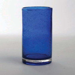 "Tag Everyday - Bubble Glass Tumbler - Set of 6 - Handmade. Straight-sided design. 18oz capacity. Dishwasher safe. 5.75""h x 3.25"" diameterColor: Cobalt. 5.75 in. H x 3.25 in. dia (18 oz. capacity)"