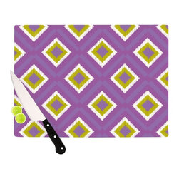"""Kess InHouse - Nicole Ketchum """"Purple Spash Tile"""" Cutting Board (11"""" x 7.5"""") - These sturdy tempered glass cutting boards will make everything you chop look like a Dutch painting. Perfect the art of cooking with your KESS InHouse unique art cutting board. Go for patterns or painted, either way this non-skid, dishwasher safe cutting board is perfect for preparing any artistic dinner or serving. Cut, chop, serve or frame, all of these unique cutting boards are gorgeous."""