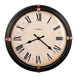 Howard Miller - Atwater Wall Clock in Dark Rubbed Bronze Fini - This 24 in. diameter metal clock is finished in a dark rubbed Bronze with aged Bronze accents at the 3, 6, 9 and 12 positions. The aged dial features a subtle center pattern, aged Black Roman numerals, Black spade hour and minute hands and a convex Glass Crystal. A twisted metal ring frames the dial. Quartz, battery operated movement. Requires 1 AA battery (not included). 24 in. Dia. x 3 1/2 in. D