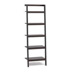 """Sawyer Mocha Leaning 25"""" Bookcase. - Space-saving, clean-looking Sawyer uses an ingenious leaning, modular design to creatively solve storage solutions throughout the home. Solid mahogany and mahogany veneer bookcase ladders five deep shelves. Thick shelf fronts and a dark mocha finish to the wood add graphic contrast to the supporting wall and accentuate the piece's architectural lines. Group bookcases together, add a desk or mix in other pieces in the collection for a custom line-up."""