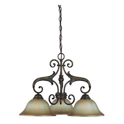 Jeremiah Lighting - 3 Light Down Chandelier - The Ferentino is an old world look that incorporates the use of the classic lily design element throughout the entire family of Lights. This collections is finished in a Burleson Bronze which is a blended bronze overlay with accent tones of copper, gold, and red clay. The chandelier and Wall Sconces models feature a authentic aged dripped candle sleeve and candelabra sockets.