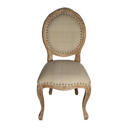 """Noir - Noir Isabelle Gray Wash Side Chair - Featuring natural, simple and classic designs, Noir products supply a timeless complement to a variety of interiors. Intricate detailing along the Isabelle side chair's curved frame maximizes the seating's traditional aesthetic. Nailhead trim provides a modern metallic edge, while a gray-washed finish over mindi wood creates a natural accent for dining rooms. Available in olive cotton fabric.  21""""W x 23""""D x 40""""H."""