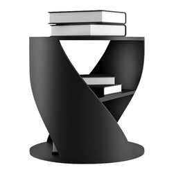 NONO - Nono Mydna Small Table, Black - The Mydna seems to stretch and bend within your room. This athletic piece is cylindrical with a middle shelves for heirloom editions, new favorites, and poetry anthologies of your choosing.