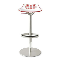 Calligaris - Jam Swiveling w/ Gas Lift Stool, Transparent Red | Pomp Home - Cleverly accented with bits of color inside its oval cutouts, this translucent technopolymer stool features a gas lift and swiveling base. A very functional way to add inspired design to your living or dining space.