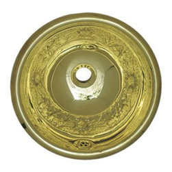 Whitehaus Collection - Whitehaus WH602BCF Round Polished Brass Drop In Bathroom Basin Sink - Get the best of nature with this round polished brass drop in bathroom basin sink by Whitehaus. It features floral pattern that brings elegance and style into your bathroom. The stainless steel finish is easy to keep it clean and shinny for a long time. It compliments wide range of bathroom styles.