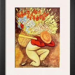 Artcom - El Vendedora De Flores by Diego Rivera - El Vendedora De Flores by Diego Rivera is a Framed Art Print set with a SOHO Thin wood frame and a Polar White mat.