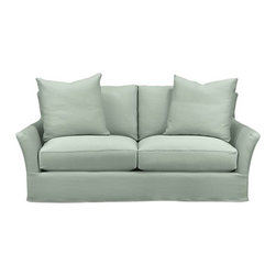 Slipcover Only for Portico Apartment Sofa - Modern meets grace in this versatile new classic for living or family room. Slipcover for Portico Apartment Sofa is prewashed poly-cotton blend for a soft lived-in touch.