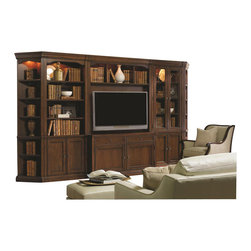 "Hooker Furniture - Cherry Creek Entertainment Console Hutch - White glove, in-home delivery included!  Includes furniture assembly!  Hutch only. (Shown with Cherry Creek modular wall system on top of the Entertainment Console.)  The Cherry Creek modular wall system allows you to design the function you need at a price much more affordable than custom built systems.  Three open areas, three tube lights controlled by three-intensity touch switch, back panel in TV area can be moved forward for mounting a plasma TV, or moved back for use with DLP/LCD TV, stained top.  TV Opening between pilasters: 50"" w x 11"" d x 36"" h  TV Opening between end panels: 52 1/2"" w x 11"" d x 36"" h  Top Center Opening: 22 1/4"" w x 14"" d x 18 1/2"" h  Top Left and Right Openings: 13 1/2"" w x  14"" d x 18 1/2"" h"