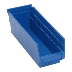 Quantum Economy Shelf Bins - 11.625W x 4.125D x 4H in. - About Quantum Storage Quantum Storage is the leading manufacturer and supplier of bins, bin systems, and wire shelving in the country. With a huge selection of heavy-duty products for residential and commercial applications designed by people who actually use them, Quantum is the way to organize your stuff. Their systems are designed to work together, combining heavy plastic bins, wire, shelving, and the racks that carry them, so you can get all your organizational needs in one place. Quantum Storage has a new distribution facility in Elk Grove, IL.