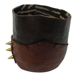 Jypsea Leathergoods - Spiked Leather Vessel with Mudcloth Lining - Handcrafted from chocolate brown lambskin leather, distressed brown cowhide, and lined with African mudcloth, the edgy gold spikes on the side give it more attitude. :)
