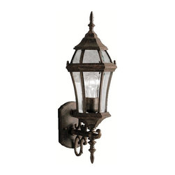 "BUILDER - KICHLER 9790TZ Townhouse Traditional Outdoor Wall Sconce - With its tall and intricate design, the Townhouse Collection adds classic form to Kichler's expansive assortment of decorative outdoor lighting. Made by the finest craftsmen in the industry, each piece is formed from cast aluminum and is U.L. listed for wet location, ensuring these high quality fixtures will continue looking fabulous for years to come. This 21-1/2"" high, 1-light wall lantern features our Tannery Bronze finish with clear beveled glass panels, which uses a 100-watt (max.) bulb that accentuates the luster of your home with zeal."