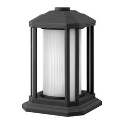 Hinkley Lighting - Hinkley Lighting 1397BK Castelle Transitional Outdoor Pier Mount Light - Castelle's transitional style features clean lines and a ribbed etched glass cylinder accented by etched amber corner panels, adding to its sophisticated look.