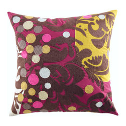 "KOKO - Earth Pillow, Wine/Brown/Mustard, 18"" x 18"" - Joyous swirls and festive dots animate this embroidered throw pillow, made from washable wool felt. The solid backside features a central opening and tie closure, concealing the poly insert (included). Toss one or two of these onto a bed, sofa or chair for a delicious dollop of color."