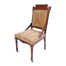 Small Eastlake Side Chair - Newly upholstered Eastlake Side Chair with Beige & Rust Paisley Chenille.