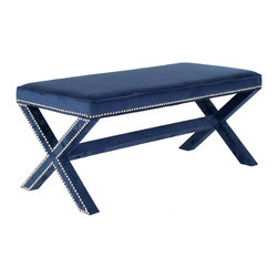 """Safavieh - Melanie Navy Extended Bench - The Melanie bench recreates a classic x-shaped design with an extended length. Dressed in navy blue upholstery, this elongated seat features nickel nailhead trim for glamorous modernity. 21.3""""W x 42.5""""D x 19.3""""H; Navy blue upholstery; Velvet-polyester blend; Birchwood frame; Nickel nailheads; Spot clean only"""