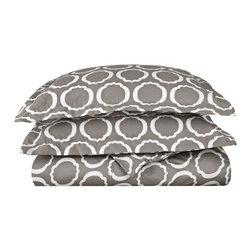 600 Thread Count Twin Duvet Set Cotton Rich Scroll Park - Grey/White - 600 Twin Duvet Set Cotton Rich Scroll Park - Grey / White