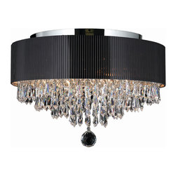 "Worldwide Lighting - Gatsby 4 Light Chrome Finish & Clear Crystal 16"" Round Flush Mount Ceiling Light - This stunning 4-light ceiling light only uses the best quality material and workmanship ensuring a beautiful heirloom quality piece. Featuring a radiant chrome finish and black drum shade over finely cut premium grade crystals with a lead content of 30%, this ceiling light will give any room sparkle and glamour. Worldwide Lighting Corporation is a privately owned manufacturer of high quality crystal chandeliers, pendants, surface mounts, sconces and custom decorative lighting products for the residential, hospitality and commercial building markets. Our high quality crystals meet all standards of perfection, possessing lead oxide of 30% that is above industry standards and can be seen in prestigious homes, hotels, restaurants, casinos, and churches across the country. Our mission is to enhance your lighting needs with exceptional quality fixtures at a reasonable price."