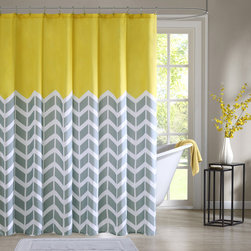 ID-Intelligent Designs - Intelligent Design Elle Printed Shower Curtain - Intelligent Design Elle makes any bathroom fun and inviting. A gray and white chevron print runs along the shower curtain broken up by white vertical stripes. The rich pop of yellow at the top provides a fresh update to your space.