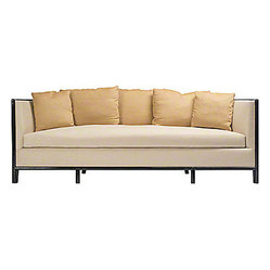 "ecofirstart - Lunette Sofa with Caned Back - Words alone cannot express the timeless beauty of this elegant contemporary sofa. The unique, half-moon caned back creates an artful appearance while its soft upholstery completes the luxurious look and feel. Your room will be ready for a spread in ""Architectural Digest."""