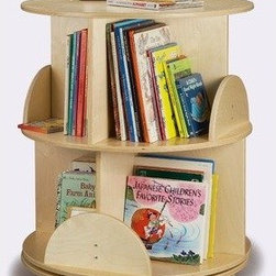 Two-Level Carousel Book Stand in Maple Finish - Reminiscent of the rotating book storage used in libraries, this book stand is a handy way to store a lot of books in a small space.