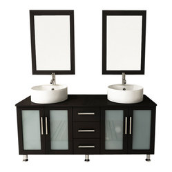 Double Lune Large Vessel Sink Modern Bathroom Vanity Cabinet Set