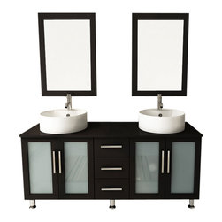 "JWH Imports - 59"" Double Lune Large Vessel Sink Modern Bathroom Vanity Cabinet Set - The epitome of form meets function, this contemporary double vanity boasts two sinks, two generously sized cabinets with frosted glass doors, and a middle panel of three sliding, soft-close drawers. Aesthetically stunning yet oh-so-practical, this bathroom vanity is an exquisite addition to your powder room with storage options aplenty."