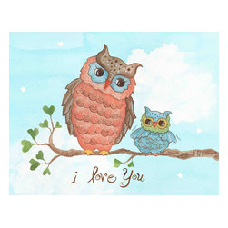 """The Little Acorn - I Love You Baby Owl Painting - """"I Love You"""" A timeless expression of love to share with your child forever. Originally handpainted by Bridget Kelly, wonderful art for little boys or girls of any age. Coordinates with 'Sweet dreams' and 'Dream Away' canvases. Dimensions and Details: Size 12.5x16 Sold individually. Just remove art from box and hang on the wall (nails not included) Saw tooth mount, No framing, no glass, and no hassle. Safest art for baby and children's rooms. Pine wood frame with cotton canvas surface. Easily cleaned with a dry soft cloth. Made in China"""