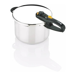 Fagor - Duo Pressure Cooker 8 Qt. - Constructed of 18/10 stainless steel . Exclusive triple valve safety system plus safety lock on handle prevents opening before all pressure is released.. Two independent over-pressure release valves assure no excess pressure build-up. . Spring-type mechanism with two pressure settings: LOW (8psi) and HIGH (15psi). Works on all types of domestic stovetops: gas, electric, ceramic and induction.. Simple-to-use dial format makes it easy to regulate and release pressure, and remove for cleaning!. Select the automatic pressure release position to release pressure or the unlock position to remove for cleaning.. Visual pressure indicator on handle shows when all pressure has been released from cooker. . Complete with Instruction manual, recipe book, and a 10-year warranty. Easy to clean; the pressure cooker pot is dishwasher safeThe Duo family of pressure cookers has sleek ergonomic black handles for easier opening and closing.  Complete with two pressure settings, a low and a high, it provides the flexibility to cook even the most delicate of dishes. Includes a stainless steel steamer basket with a support trivet and a booklet with over 50 recipes.
