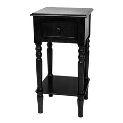 """Oriental Furniture - 28"""" Classic Design Square Accent Table - Black - A classic accent table as practical as it is aesthetically pleasing. The sliding top drawer and sturdy bottom shelf provide extra storage and display space and reinforce stability. Scored drawer has a metal knob. Sturdy enough for a lamp or statue, tall enough to serve as a plant or telephone stand, or as a bedside table."""