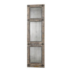 Uttermost - Saragano Distressed Leaner Mirror - Long on casual elegance, this leaner mirror adds a rustic touch for your favorite setting. Inspired by an old door frame right down to the rusted black details, it's been distressed to perfect imperfection.