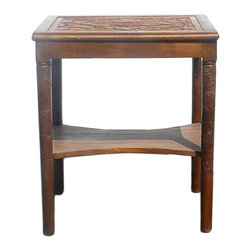 "Golden Lotus - Lotus Relief Carving Wood Side Table Stand - Dimensions:  26"" x 20"" x h30"""