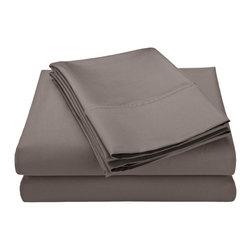 600 Thread Count California King Sheet Set Solid Cotton Rich - Grey - Cotton Rich 600 Thread Count California King Grey Sheet Set