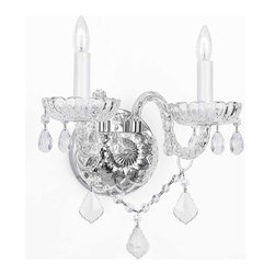 "The Gallery - Murano Venetian style Crystalall Sconce Lighting trimmed - This Magnificent Wall Sconce Is trimmed with Swarovski crystal. Nothing is quite as elegant as the fine Crystalall sconces that gave sparkle to brilliant evenings at palaces and manor houses across Europe. This beautiful wall sconces is decorated with 100% crystal that captures and reflects the light of the candle bulbs, each resting in a scalloped bob ache. The crystal arms of this wonderful wall sconces give it a look of timeless elegance that is sure to lend a special atmosphere in any home. Size: H10"" W10"". 2 Lights. Finish: Silver Finish"