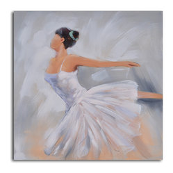 """Ballerina in White"" Hand-Painted Canvas Art - If you have a ballerina in your life or if you are a lover of dance, rip off that old poster on your wall and replace it with a serious original. Then, dance on."