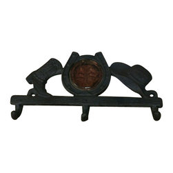 AJchibp2977-11 - Cast Iron Three Hook Hanger - Cast iron boot horse shoe and hat. No assembly required.