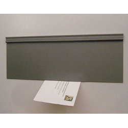 "STR Products, LLC - Energy Efficient Mail Slot Door - Draft Free - Pewter - Metal Door - The Magnetic Mail Slot Door uses flexible magnetic sheet material to eliminate drafts and seal mail slot openings. Fastens easily to the Interior of any door or wall with any standard opening. Used in conjunction with your existing exterior mail slot door. Saves on fuel bills and pays for itself quickly. Easily adaptable to all openings. Quantity discounts available to contractors. Dimensions: 5"" high x 13-1/2"" wide."