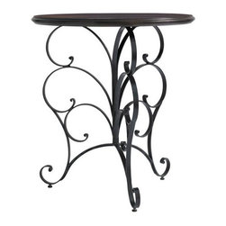 Stanley Furniture - Charleston Regency-Ribbon Scroll End Table - Finished in hand-rubbed Classic Mahogany, the top of the Ribbon Scroll End Table is buttressed by a metal base in venerable Charleston Green. It is a tribute to Charleston's rich tradition of ironwork and the Gullah blacksmiths who crafted objects of beauty and utility.