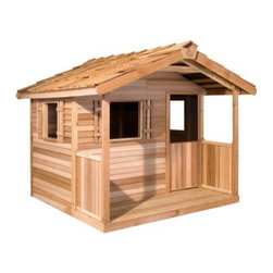 Cedar Shed Log Cabin Cedar Playhouse - From the tip top of the shingled roof to the floor of the covered front porch the Cedar Shed Playhouse is sure to spark your child's imagination and encourage him or her to enjoy the great outdoors. Perfect for the do-it-yourselfer pre-assembled panels of this Western Red Cedar playhouse arrive to you ready for the finishing touches. All the assembly hardware is included even the necessary drill bit. Your little one will love the sweet shutters on each window. The roof is already shingled when it arrives at your doorstep. This playhouse has a country-style swinging half-door the kids will love and a covered front porch with paneled sides. This playhouse is also an attractive solution to storing all your gardening tools hoses and flower pots. You'll find a handy use for it even after the kids have outgrown it. • Assembled size is 6 Feet by 6 Feet• Door Opening is 47H x 19W inches• Inside Floor size is 66D x 46W inches About Cedar Shed IndustriesSince 1980 Cedar Shed has grown to be one of the largest specialty cedar product manufacturers in the world. They offer top quality products like gazebos sheds and outdoor furniture all made from high-quality Western Red Cedar. Over the years Cedar Shed has grown developed and matured to the point where they are now shipping thousands of gazebos and garden sheds every year to customers around the world. Why Western Red Cedar?The supremacy of Western Red Cedar as an all-weather building material is entirely natural. Along with its beauty stability and endurance Western Red Cedar contains natural oils that act as preservatives to help the wood resist insect attack and decay. Properly finished and maintained Western Red Cedar ages gracefully and endures for many years. Western Red Cedar is non-toxic and safe for all uses. Over time the wood remains subtly aromatic and the characteristic fragrance adds another dimension to the universal appeal of the Cedar Shed products.