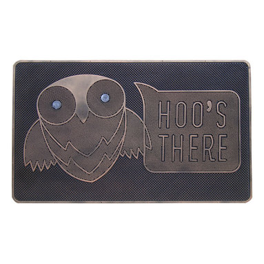 """A1 Home Collections - """"HOO'S THERE"""" Designer Natural Rubber Doormat. - Welcome visitors to your home with this outdoor mat. Made form 100% Rubber this mat features a fun pet design."""